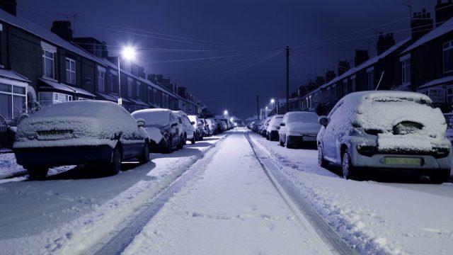 Ночной квартал зимой