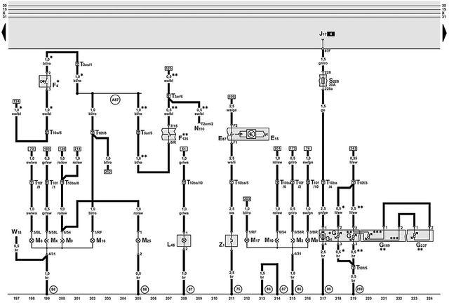 Схема электропитания Ауди А6