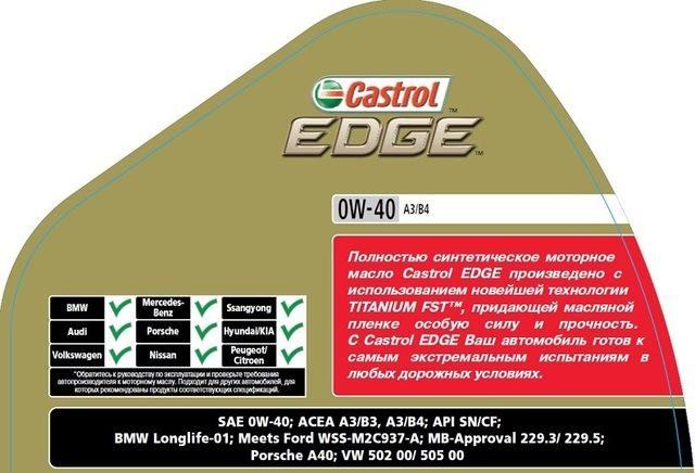 Технические характеристики CastrolEDGE0W-40