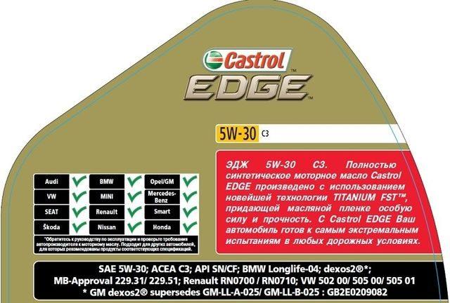 Технические характеристики Castrol EDGE 5W-30
