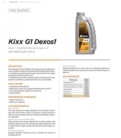 Спецификация Kixx 5W30