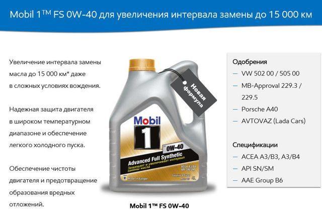 Характеристика Mobil 1fs 0w40