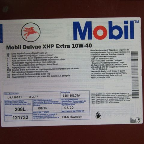 Характеристики Mobil Delvac MX Extra 10W 40