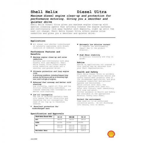Спецификация Shell Helix Ultra Diesel 5W40