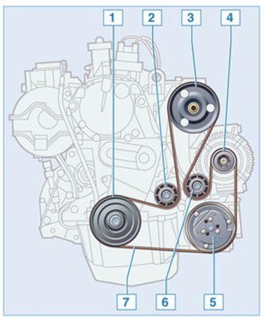 Схема подключения ремня генератора Рено Кенгу
