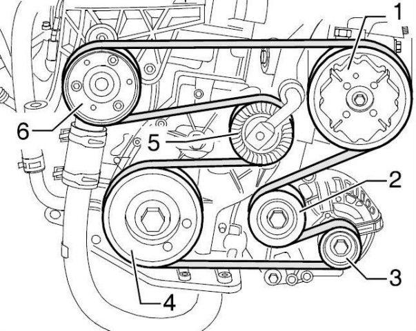 Схема ремня вспомогательных агрегатов Skoda Fabia