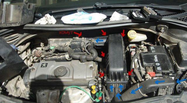 Расположение воздушного фильтра Peugeot 207